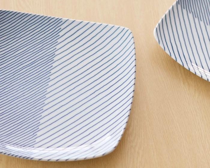 白山陶器重ね縞の柄アップ