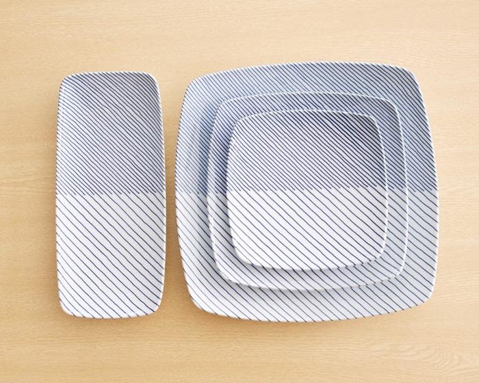 白山陶器の重ね縞の各種類
