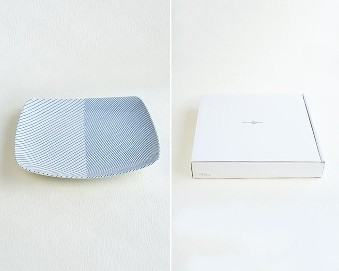 重ね縞反角皿と専用の白いクラフトボックス
