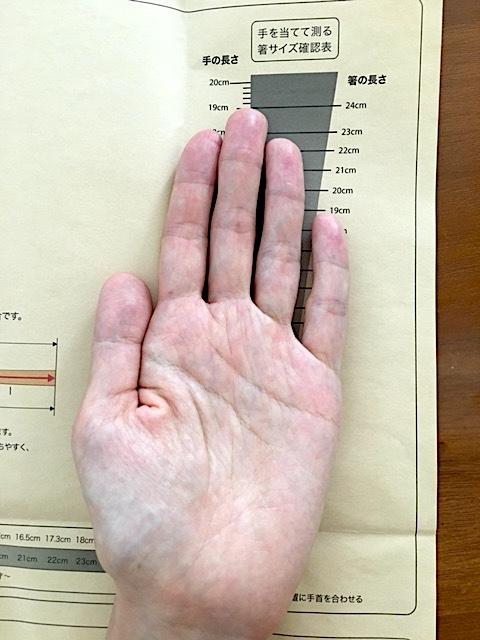 手作り箸キットの手引きで長さを測っている