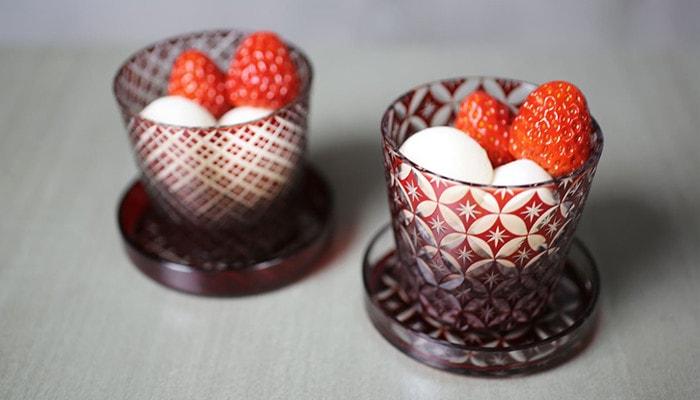 江戸切子はデザートカップとしても使用できます