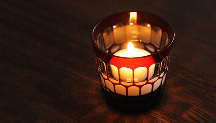 Edo Kiriko glass as candle holder