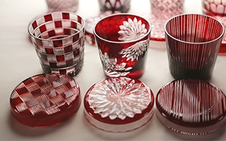 Japanese Crafts. Edo Kiriko (cut glass) Futa Choko (lid and cup)