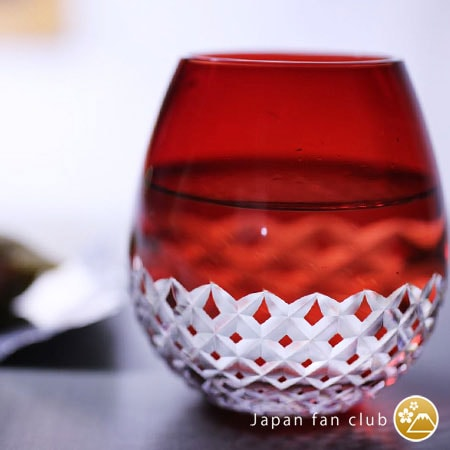 Red Arare Edo kiriko glass of Karai