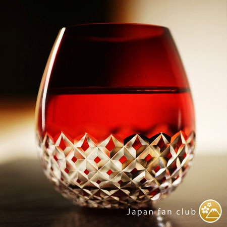 Edo kiriko cut glass reflects light beautifully