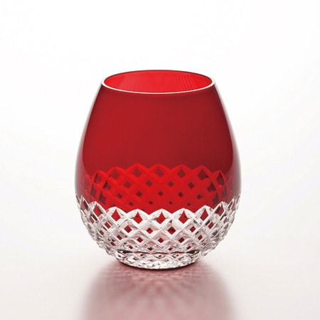 Red Arare Edo kiriko glass of Karai from Hirota glass