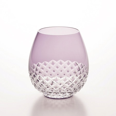 Purple Arare Edo kiriko glass of Karai from Hirota glass