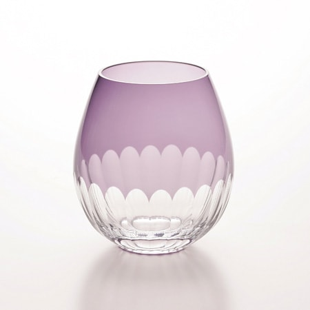 廣田ガラスさんの江戸切子 かまぼこ模様 紫