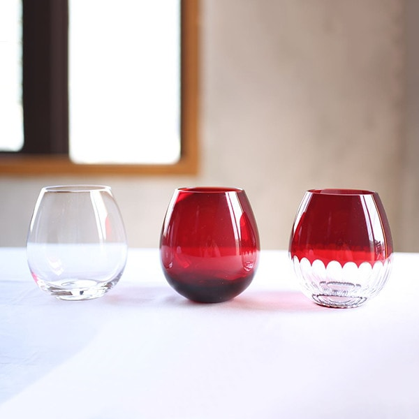 From left to right, Clear Edo glass, Red Edo glass, and red Kamaboko Edo kiriko glass of Karai series
