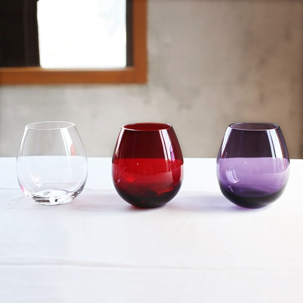 From left to right, clear, red, and purple of Edo glass