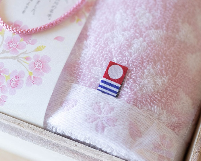 Tag of Imabari towel brand on Sakura Mon-Ori towel
