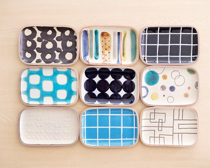 9 different patterns of Rectangle S plates from Issui pottery
