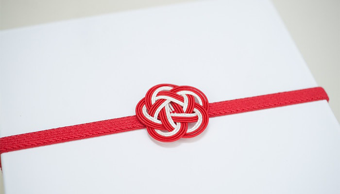 Red and White Ume Mizuhiki band for Jubako box