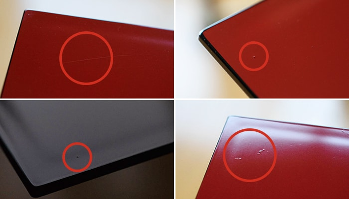 Examples of small scratches or air bubbles on Jubako boxes