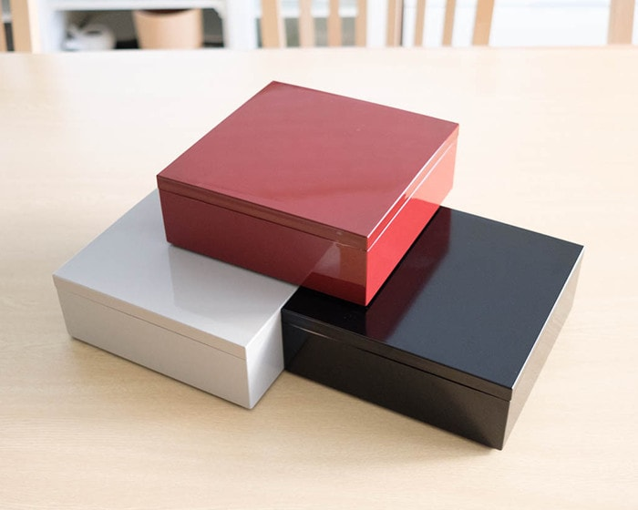 Red, Greige and Black Jubako boxes