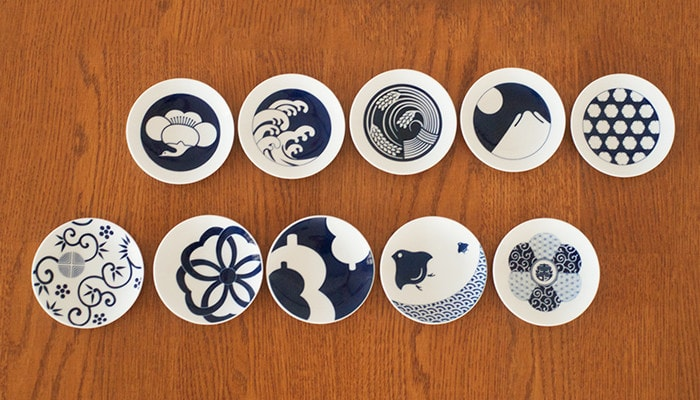 KIHARA KOMONの豆皿や取り皿10種類を上から見た様子