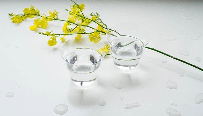 水の入った薄玻璃(うすはり)グラス・ベッロとお花