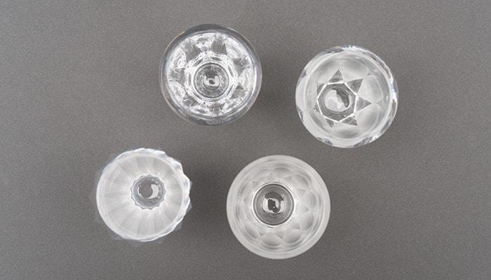 木村硝子店のミタテシリーズのグラス4つを上から撮った写真