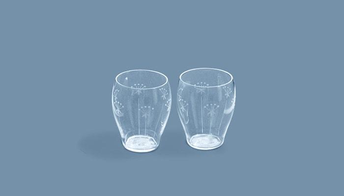 木村硝子店の薄玻璃(うすはり)グラス、オーブシリーズの雪の花タンブラーペアセット