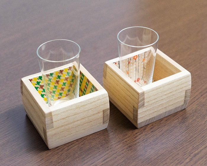 Wooden sake cups from Masuda Kiribako with glasses