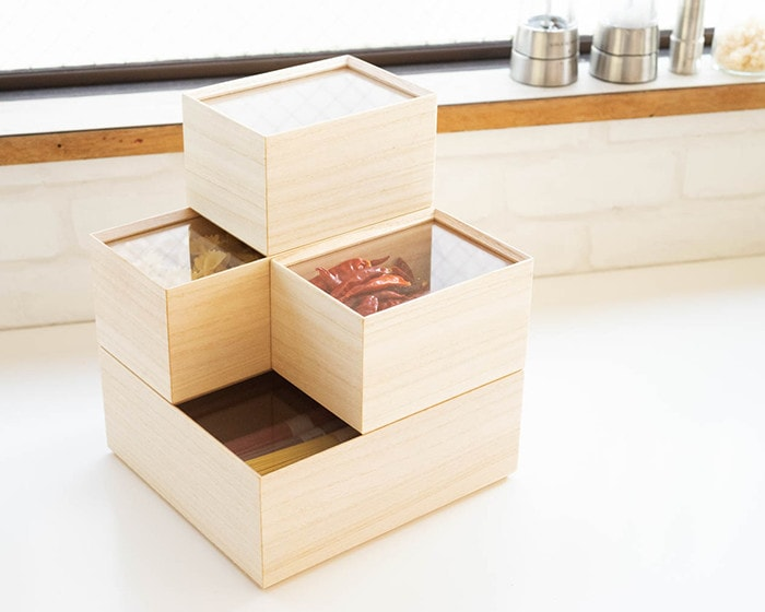 Stacked wooden canisters from Masuda Kiribako