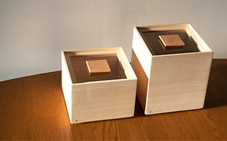 Stylish and cute wooden rice storage box of Masuda Kiribako