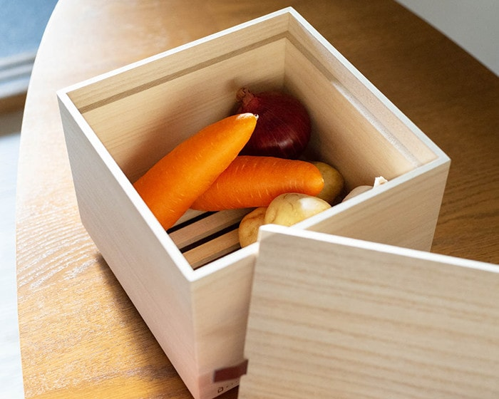 Vegetables in wooden vegetable storage box