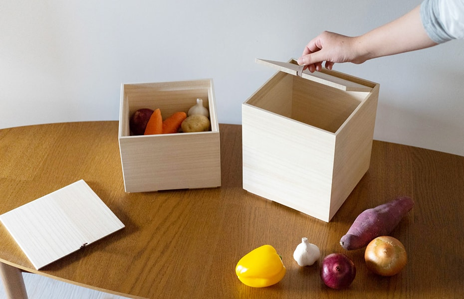Wooden vegetable storage boxes from Masuda Kiribako
