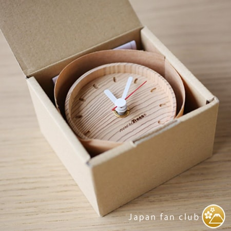 wooden table clock in simple box