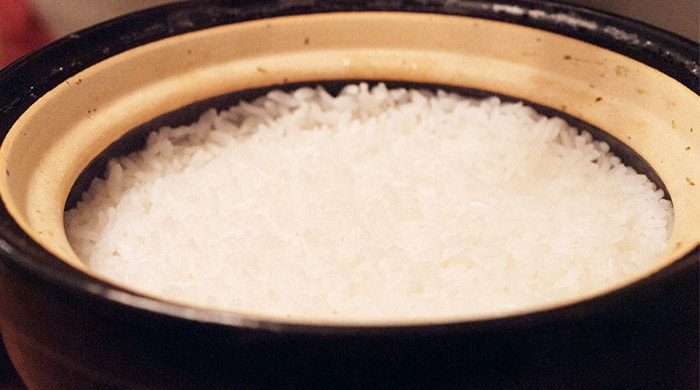 Beautiful rice cooked by donabe rice cooker