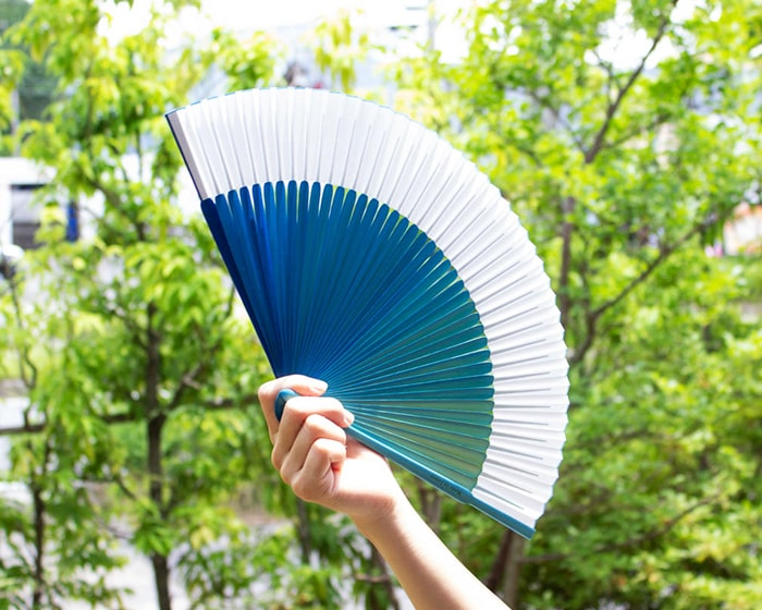 Beautiful blue gradients of gradation fan from Nishikawa Shouroku