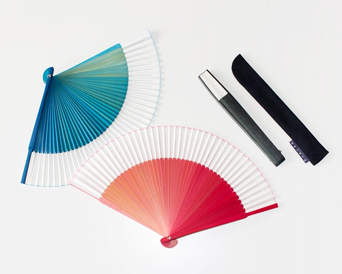 Pink and Blue Gradation sensu fan from Nishikawa Shouroku