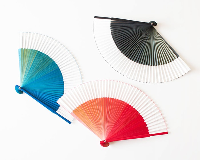 Blue, Pink and Black gradation fan from Nishikawa Shouroku