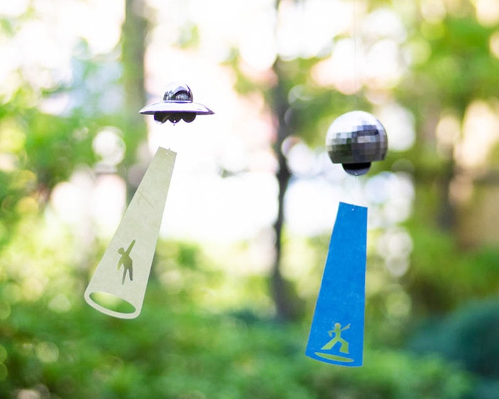 UFO and Disco ball wind chime from Nousaku