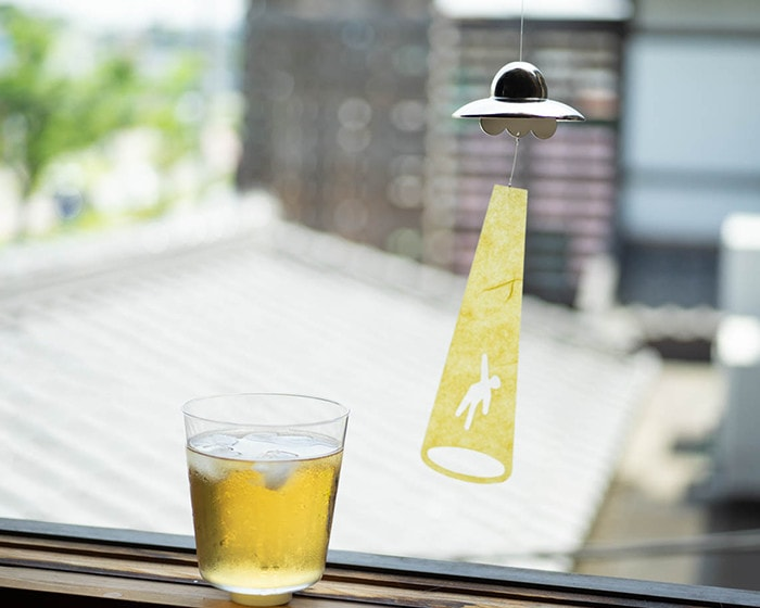 UFO wind chime from Nousaku and a glass of iced tea