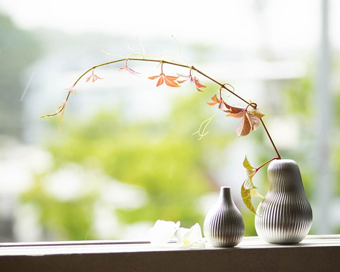 Tin bud vases suzu on a window sill