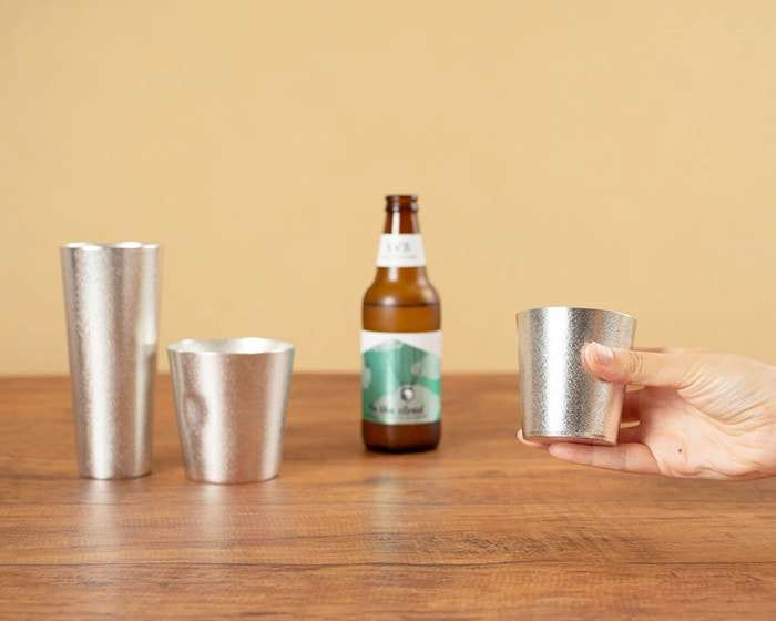 Tin beer cup and tumblers from Nousaku
