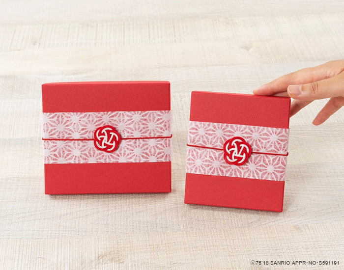 Easy wrapping with Ume-Mizuhiki on exclusive boxes of Hello Kitty products