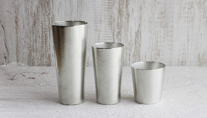 three types of Nousaku tin beer tumbler and cup