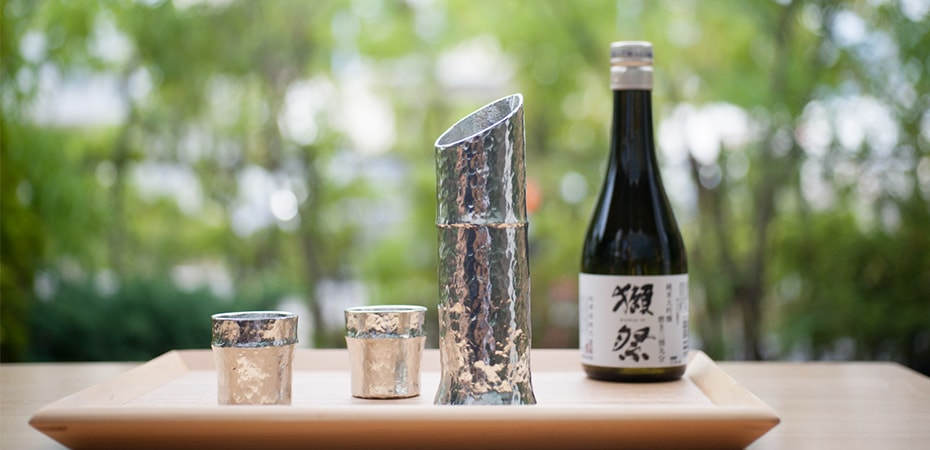 Bamboo sake set of Nousaku for gifts