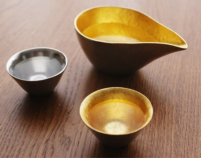 Pair set of gold and silver guinomi