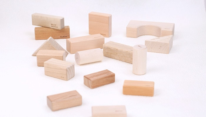 Various wooden blocks of 'Wood blocks in a box'