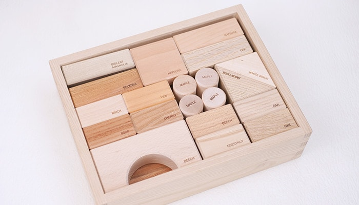 Various wooden blocks in a box