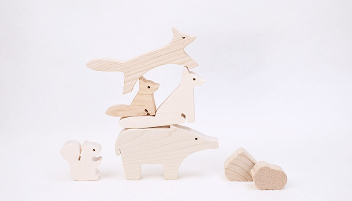 Piled up wooden animal blocks