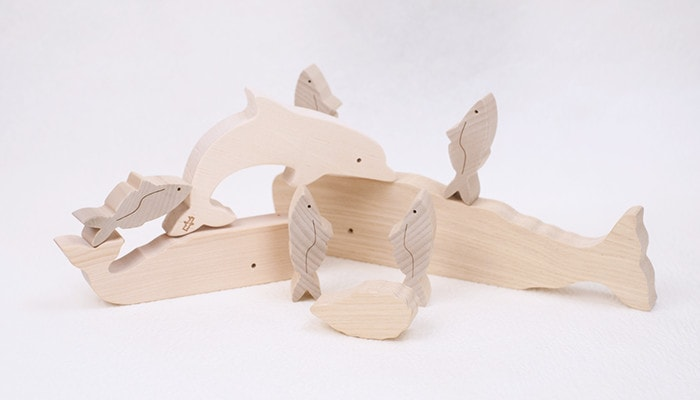 Piled up wooden marine life blocks