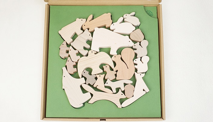 """Wood blocks of the Forest animals"" in an exclusive box"