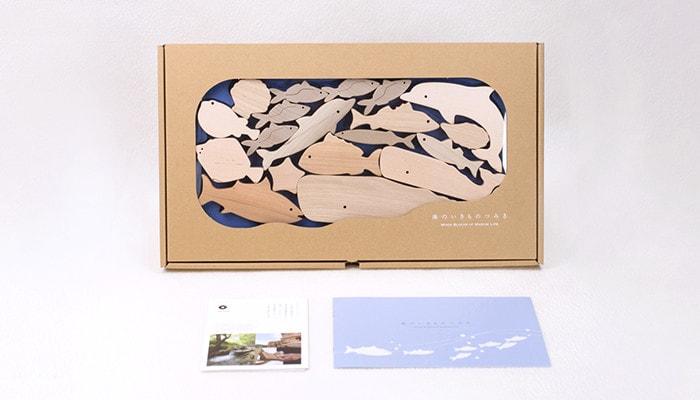 専用の箱に入った海のいきものつみきと説明書