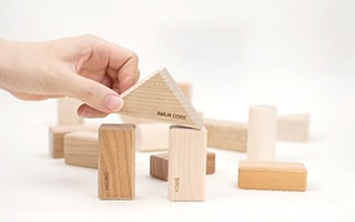 Children's wooden building blocks from Japanese forest