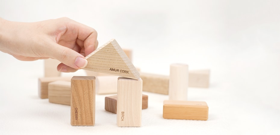 Children's wooden building blocks of Oak Village