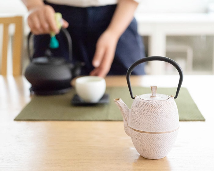 White tetsubin teapot of Roji on the table